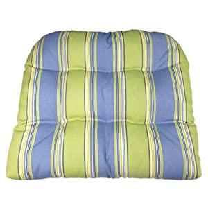 Delightful Patio Chair Cushion   Hampton Bay Blue Green Cabana Stripe   Size Large    Indoor / Outdoor, Mildew Resistant, Fade Resistant   Reversible, Tufted,  Box Edge, ...