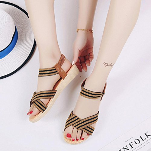 Peep marrón Sandalias Bohemia de a rayas Toe vestir sandalias Ouneed moda Las ocio de mujeres ® zapatos xHaPqxwgU