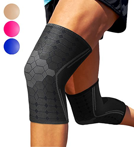 Sparthos Knee Compression Sleeves by (Pair) – Support for Sports, Running, Joint Pain Relief – Knee Brace for Men and Women Walking Cycling Football Tennis Basketball Hiking Workout Jogging (Black-L)