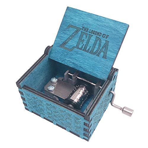 The Legend of Zelda Music Box Hand Crank Musical Box Carved Wooden,Play Zelda:Song of Storms from Ocarina of Time,Blue