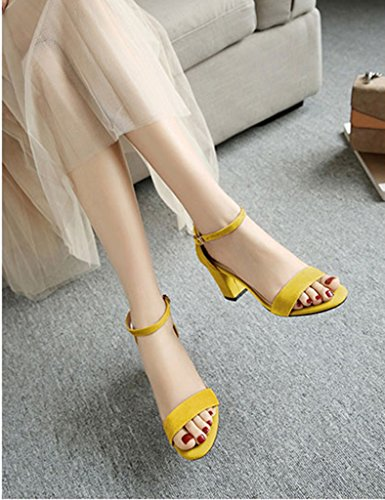 Sandals ZCJB Coarse Heel Shoe Female Summer Season Wild High-heeled Shoes Mid Heel One Word Deduction Open-toed Shoes (Color : Yellow, Size : 33)