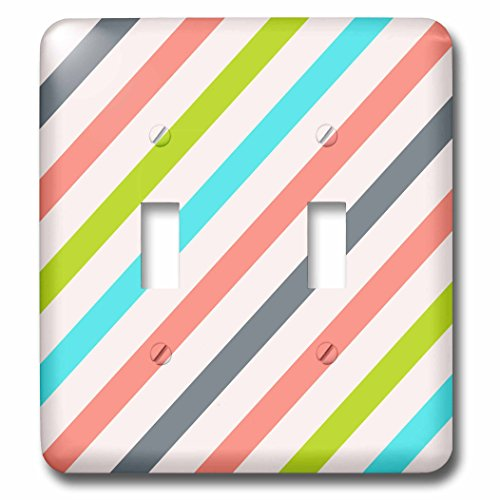 (3dRose Anne Marie Baugh - Stripes - Pink, Green, Aqua, Gray Diagonal Stripes Pattern - Light Switch Covers - double toggle switch (lsp_266636_2))