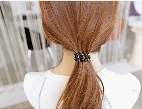 GAOQIANGFENG Rubber headgear hair rope leather ring line Tousheng rubber band small fresh hair,black