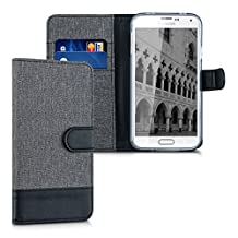 kwmobile Wallet case canvas cover for Samsung Galaxy S5 / S5 Neo / S5 LTE+ / S5 Duos - Flip case with card slot and stand in grey black transparent
