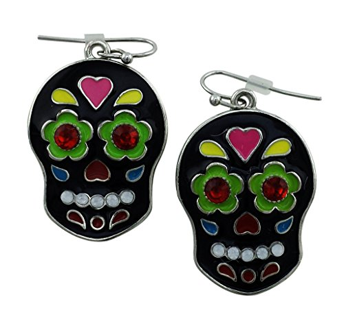 Mexican Sugar Skull Drop Earrings for Halloween | Spooky Vibrant Cool Fashion Themed Jewelry Gift