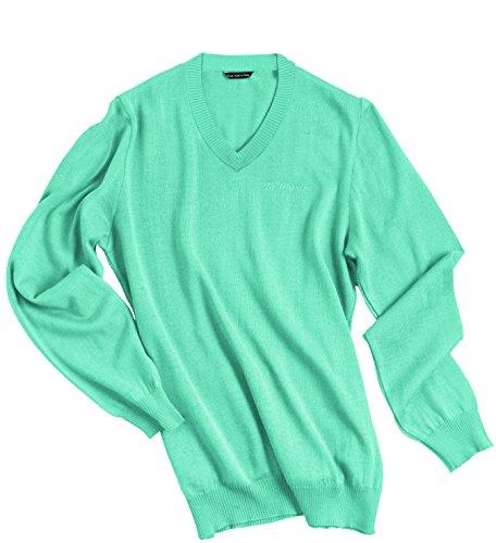 DE MARCHI - HERITAGE PULLOVER - SKY / TURQUOISE Soft Cotton V Neck T-Shirt Medium