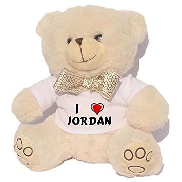 Oso blanco de peluche con Amo Jordan en la camiseta