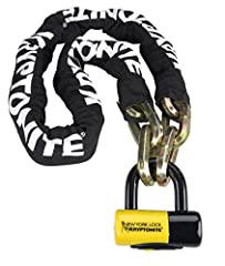 14mm six-sided chain links made of3t HARDENED MANGANESE STEELfor ultimate strength. Durable, protective nylon cover with hook-n-loop fasteners to hold in place. Includes maximum security New York Disc Lock with 15mmMAX-PERFORMANCE STEEL SH...
