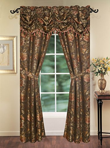 Primavera 5PC Rod Pocket Jacquard Window Curtain Set, 1 Fringe Valance & 2 Panels Attached with 2 Tie Backs 54″x84″ (chocolate)