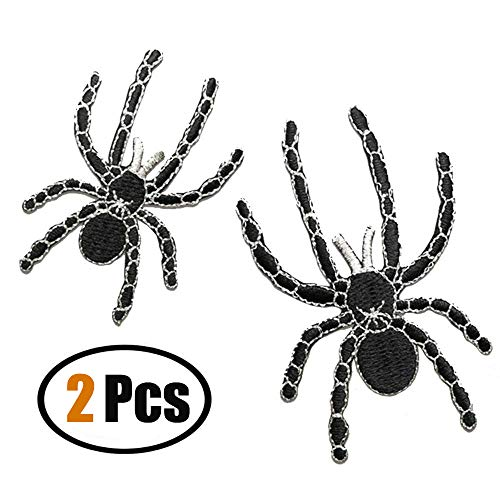 ZOOPOLR 2 Pcs Spider Embroidered Patches,Iron On Patches, Sew On Applique Patch,Embroidery Patches, Cool Patches for Men, Women, Boys, Girls, Kids