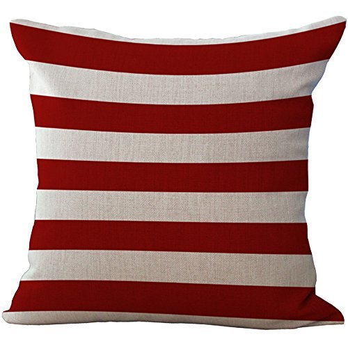 (ChezMax Linen Office Chair Back Cushion Cover Cotton Throw Pillow Case Square Pillowslip Decorative Pillowcase For Hotel Lounge Red and White Striped 18 X 18'')