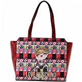 Love Moschino Women's Red Digital Print Double Handle Tote Handbag