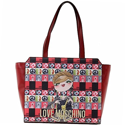 Love Moschino Women's Red Digital Print Double Handle Tote Handbag by Love Moschino (Image #5)