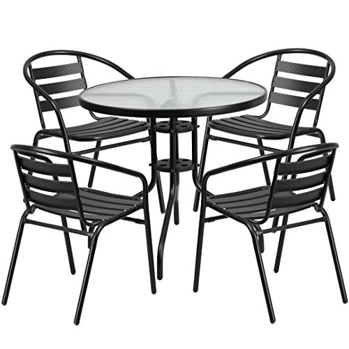 MFO 31.5'' Round Glass Metal Table with 4 Black Metal Aluminum Slat Stack Chairs