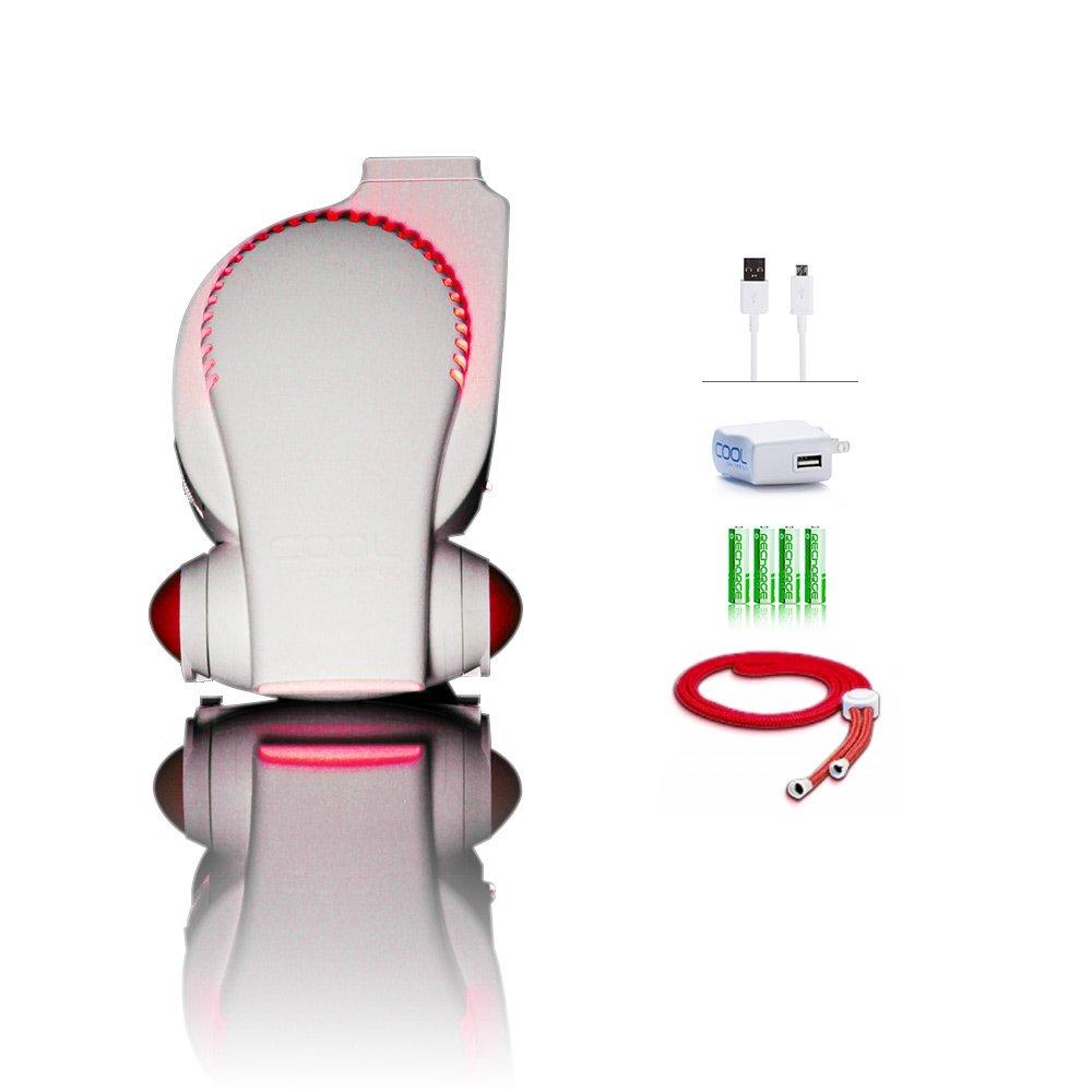 Next Generation Rechargeable Fan with LED Lights ECO Friendly Mini USB Fan / Stroller Fan / Infant Seat Fan / Desk Fan / Necklace Fan / Hands Free Personal Air Cooling System (color may vary)