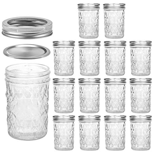 Mason Jars 8 OZ, VERONES 8 OZ Canning Jars Jelly Jars With Regular Lids and Bands, Ideal for Jam, Honey, Wedding Favors, Shower Favors, Baby Foods, 15 PACK -