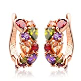 Image of Bamoer Rose Gold Plated Prongs Swarovski Crystal Element Cubic Zirconia Multi-Color Stud U Earrings