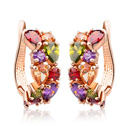 Multi Color Crystal Ring Swarovski - Bamoer Rose Gold Plated Prongs Swarovski Crystal Element Cubic Zirconia Multi-Color Stud U Earrings