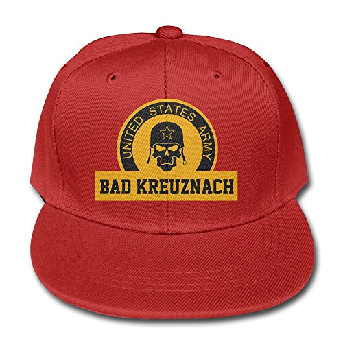 Shiningstar Kids US Army Bad Kreuznach Soldier Skull Flat Bill Baseball Cap Red