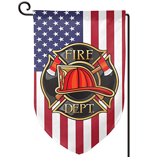 Fire Department Or Firefighters Maltese Cross Decorative Garden Flag Home Decor Yard Banner 12.5X18 Inch Printed Double Sided Fillet