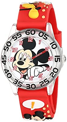"""Disney Kids' W001517 """"Time Teacher"""" Mickey Mouse Watch With Red 3-D Plastic Band by Disney"""