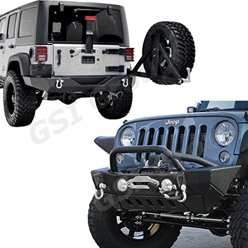 GSI-07-16-Jeep-Wrangler-Rock-Crawler-Front-Bumper-with-OE-Fog-Lights-Hole-and-Winch-PlateFull-Width-Rear-Bumper-with-Tire-Carrier-and-2Hitch-Receiver-Combo