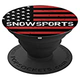 Snowsports USA American Flag Sport Fan Gift Pop Socket - PopSockets Grip and Stand for Phones and Tablets