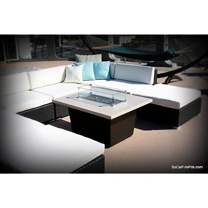 60,000 BTU Palisades Rectangular Fire Pit Table - 52x36x4 - Chat Height - Propane - Beige Powdercoat Top - Black Powdercoat Base