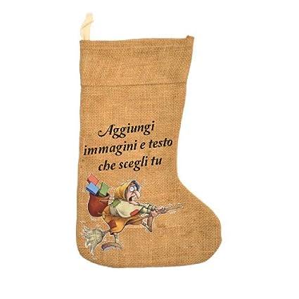 in Juta 40cm My Custom Style Calza Befana Personalizzabile con Foto o Testo