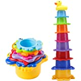 Bath Stacking Cups, 8 Pack Caterpillar Nesting Cups for Toddlers, Easily Stackable Brightly Colored with Numbers and EN71 Safety Standard Bath Toys,Perfect for Bathtubs