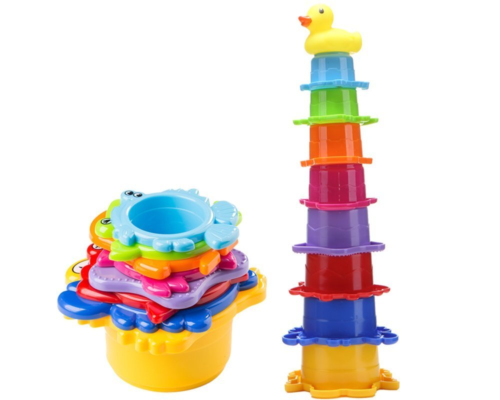 Bath Stacking Cups, 8 Pack Caterpillar Nesting Cups for Toddlers, Easily Stackable Brightly Colored with Numbers and EN71 Safety Standard Bath Toys,Perfect for Bathtubs Lesonic