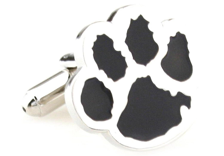 MRCUFF Cub Paw Print Bear Tiger Dog Black Pair Cufflinks in a Presentation Gift Box & Polishing Cloth