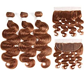 99J/Burgundy Human Hair Weave Bundles 3PCS With Lace Frontal Closure The rest of my life Brazilian Body Wave Non-Remy Hair Weft Extensions,18 20 22 +16Closure,#30,Free Part