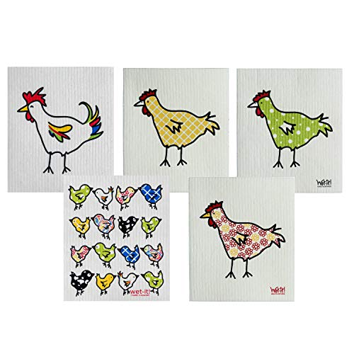 (Wet-It! Swedish Dishcloth Set of 5 (Chickens, Rooster and Chicks))