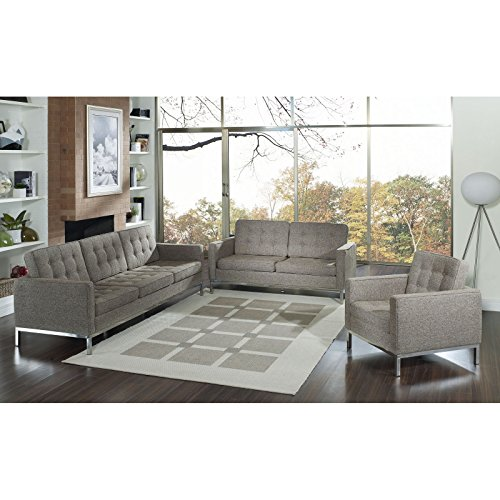 Modway Woolen Florence Style Armchair Loveseat and Sofa Furniture Set in Oatmeal