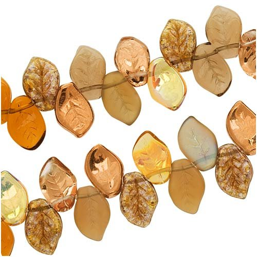 Leaf Pressed Beads - Jablonex Czech Glass Wheatberry Brown Copper Leaf Beads 9mm X 14mm (50 Beads)