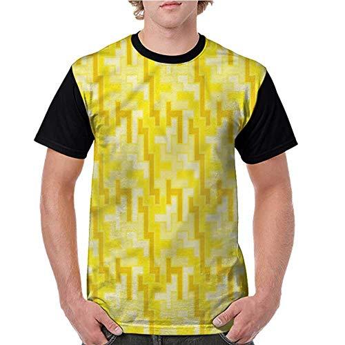 Lightly Printed Causal Tops Blouse,Yellow,Tile Square Retro S-XXL Printed Tee Female Baseball Shirt