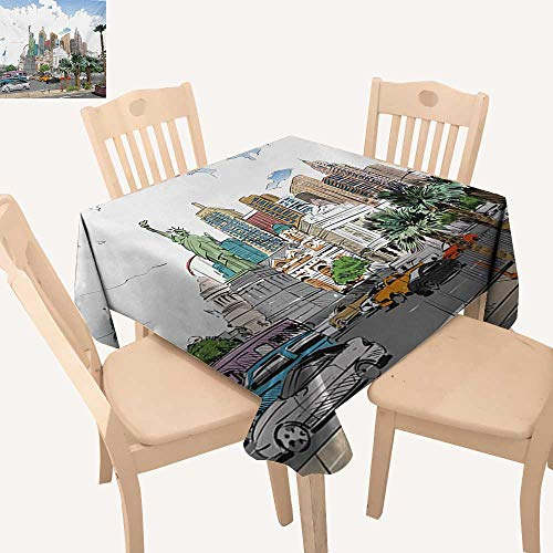 Angoueleven USA Fabric Tablecloth Hand Drawn Las Vegas City Nevada Street Sketch Buildings Statue of Liberty Cars Palms Outdoor Tablecloth Multicolor W 36