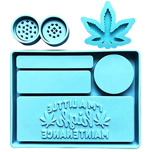 Rolling Tray Mold for Epoxy Resin - Silicone Resin Tray Molds with Grinder Mold and Weed Leaf Mold - Large Rectangle Tray Resin Mold for Resin Casting, DIY Jewelry Holder,Home Decoration