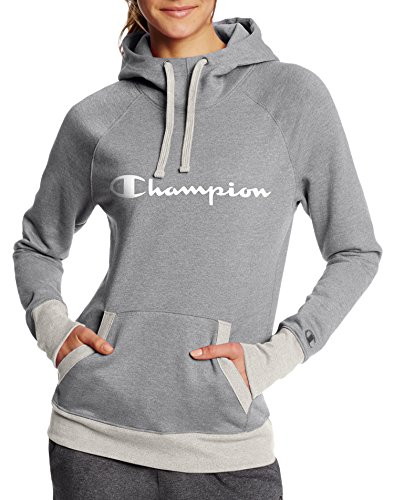 Champion Fleece Pullover - Champion Women's Fleece Pullover Hoodie, Oxford Grey Heather/Oatmeal Heather Script, M