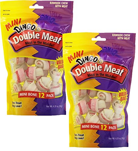 Dingo Mini Double Meat Bones, 12-Count(2Pack)