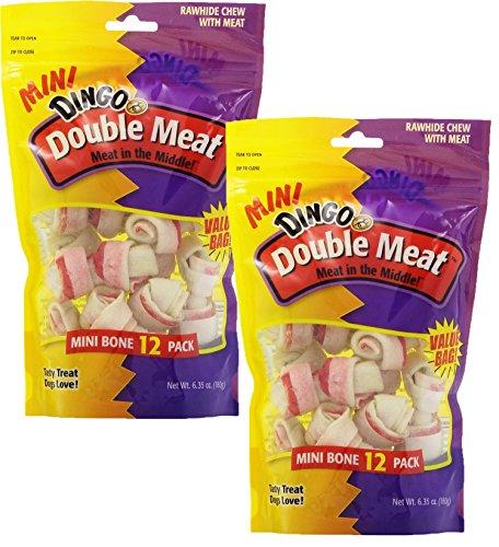 Double Meat Dog Bone - Dingo Mini Double Meat Bones, 12-Count(2Pack)