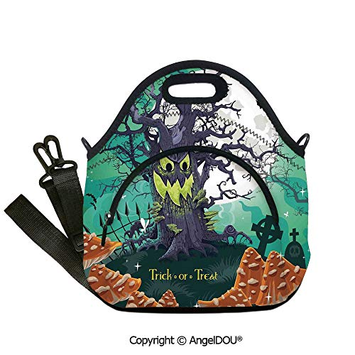 AngelDOU Halloween Decorations portable thickening insulation tape Lunch bag Trick or Treat Dead Forest with Spooky Tree Graves Big Kids Cartoon Art lunch bag for Employee studen12.6x12.6x6.3(inch) -