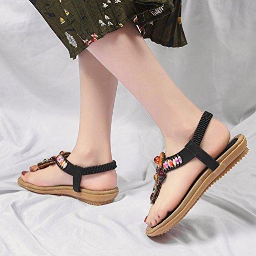 Pour Chaussures Sandales En Peep Ethniques IGEMY Sandales Noir Toe Femmes Casual Chaussures Plat Bohemia Cuir Femme Eté 7qSqICxnw6
