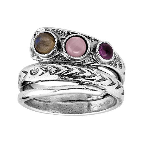 Silpada 'Ambrosia' Natural Labradorite, Tiger's Eye, Amethyst Ring in Sterling Silver