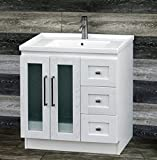 ELIMAX'S 30' Bathroom Vanity Solid Wood Cabinet Unique Designed Ceramic Top Sink Faucet B3018-U