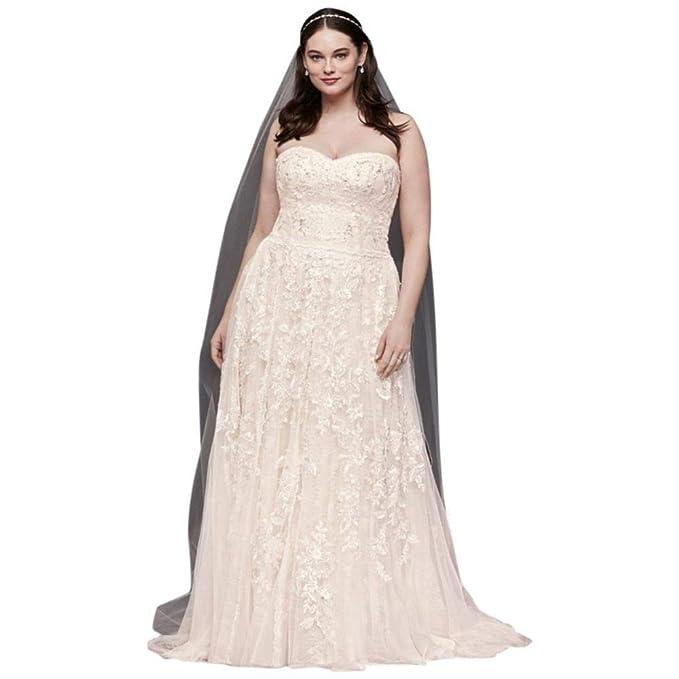 d3206c95 David's Bridal Melissa Sweet Lace A-Line Plus Size Wedding Dress Style  8MS251174, Solid