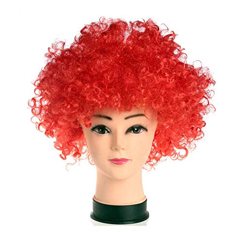 R STAR Funny Clown Curly Afro Wigs(Red)]()