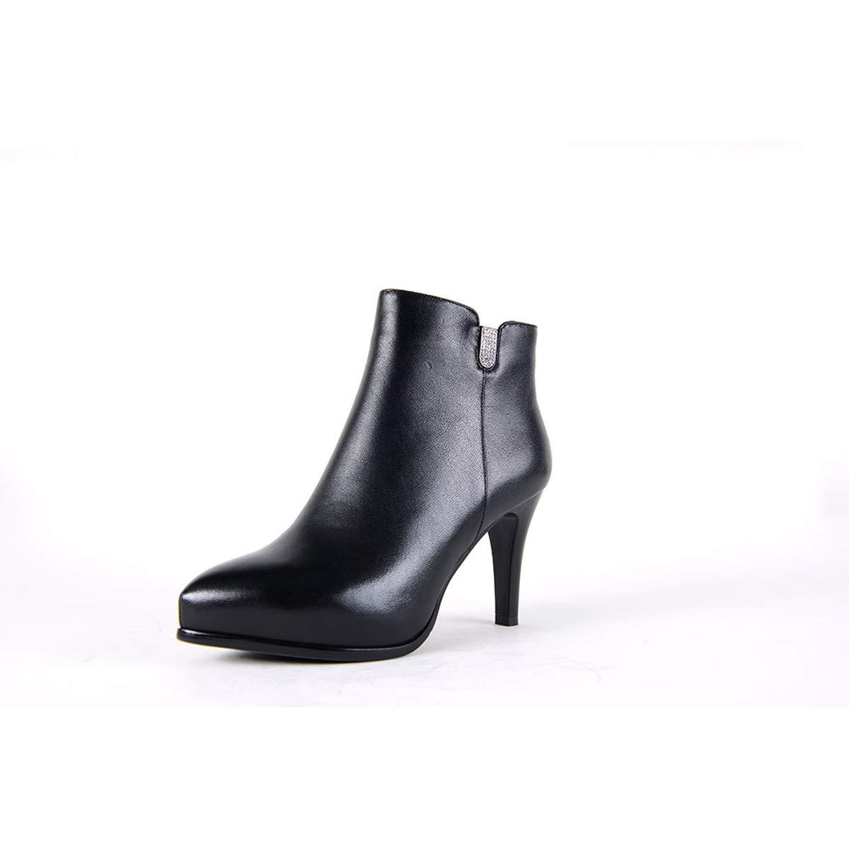 DANDANJIE Frauen Chelsea Spitzschuh Pfennigabsatz Damen Stiefeletten Reißverschluss Reißverschluss Reißverschluss High Heel Casual Stiefelies Schuhe Schwarz,schwarz,39EU e9b010