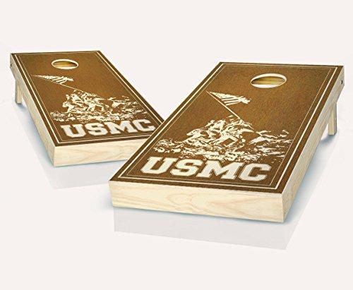 - USMC Marines Military Chestnut Stained Custom Cornhole Boards Regulation Size Game Set Baggo Bean Bag Toss + 8 ACA Regulation Bags